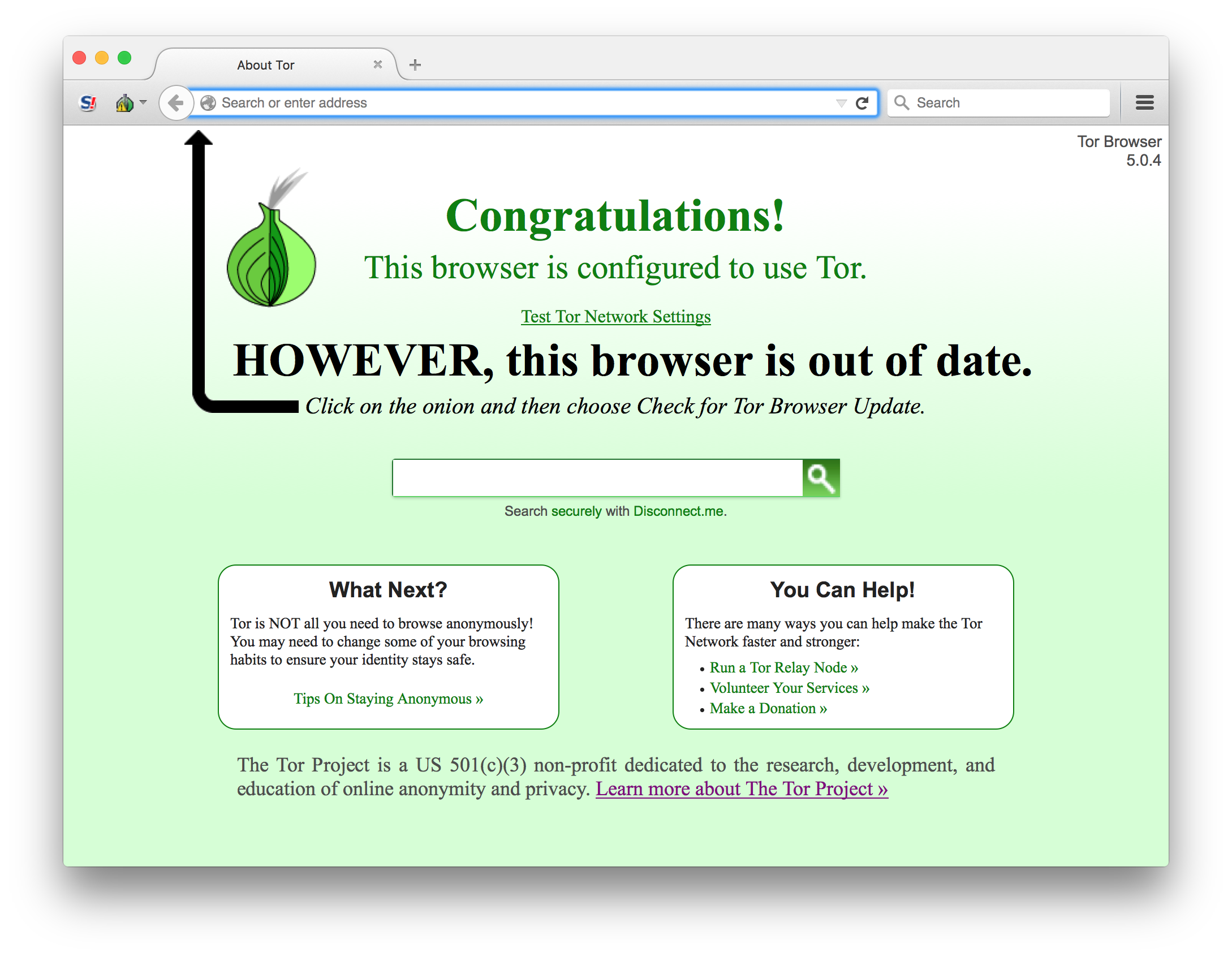 Out of date Tor browser screenshot